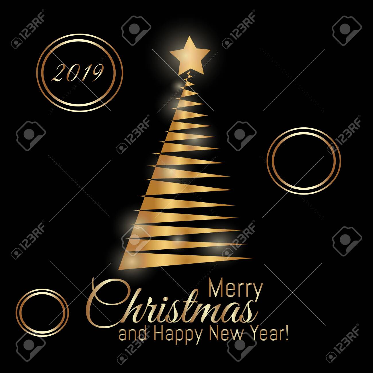 Gold Merry Christmas Card With New Year Tree And With 2019 Number