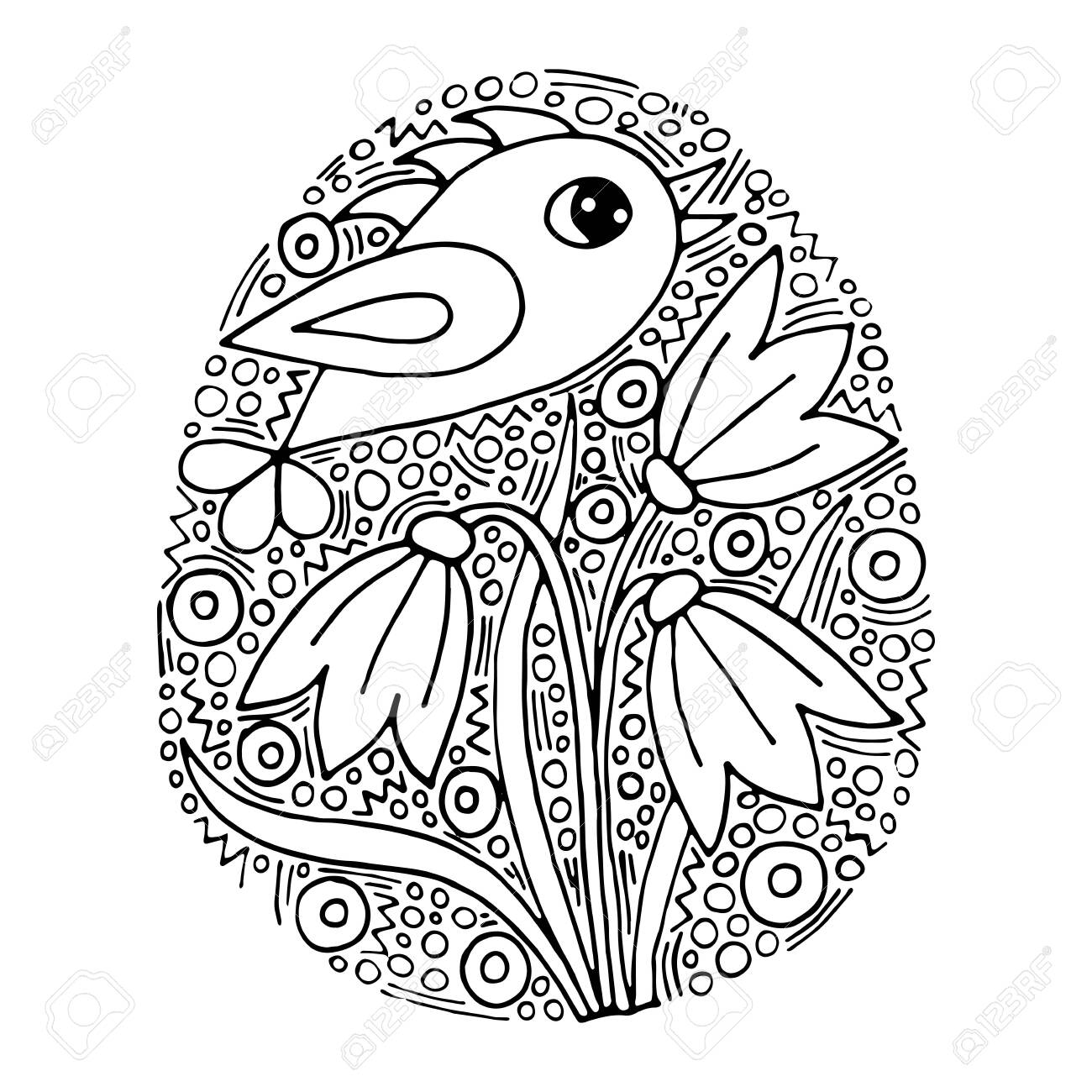 Vector floral Easter egg with handwriting bird and flower on..