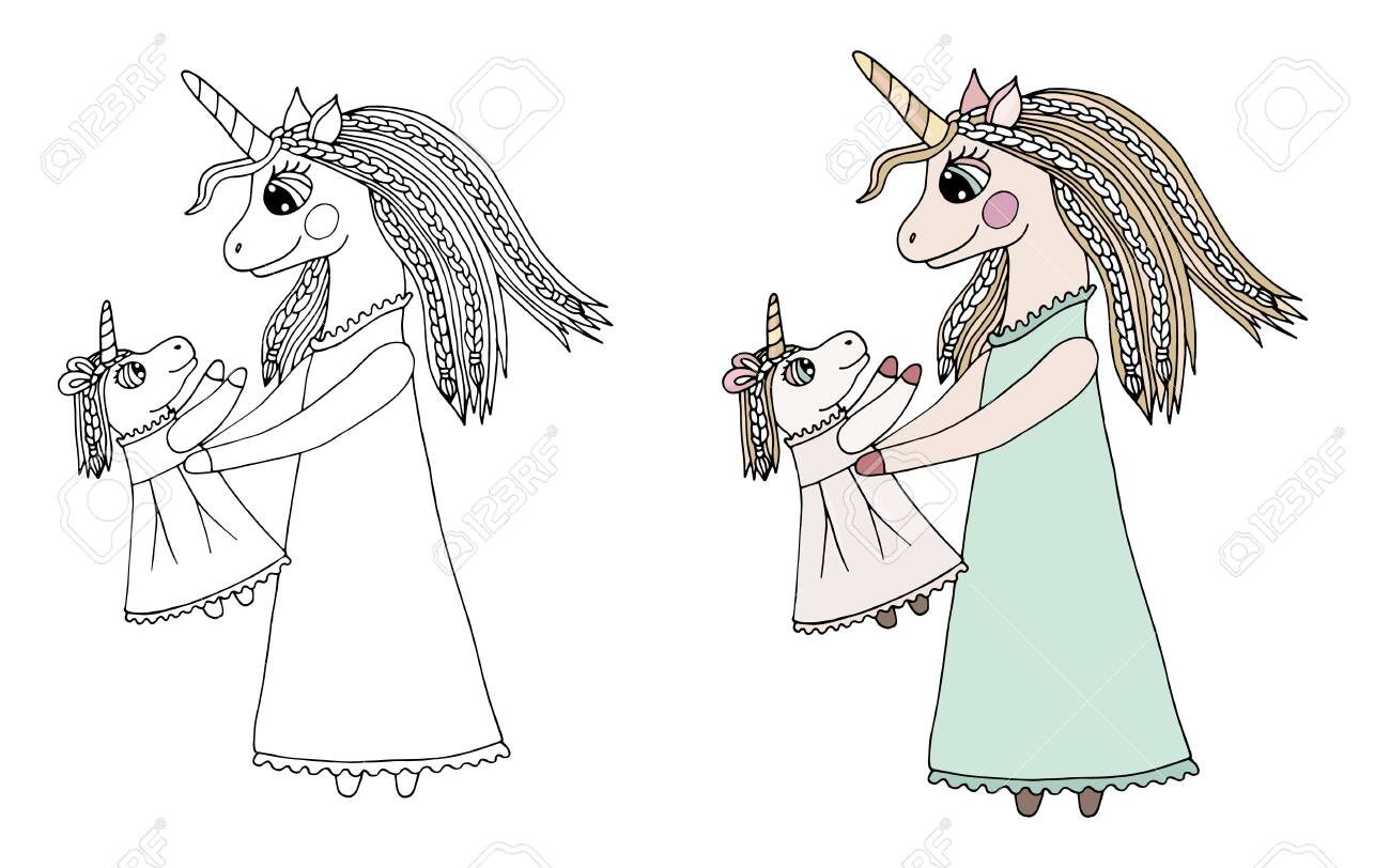 Black Line Mom And Child Unicorn With Long Hair In Dress For