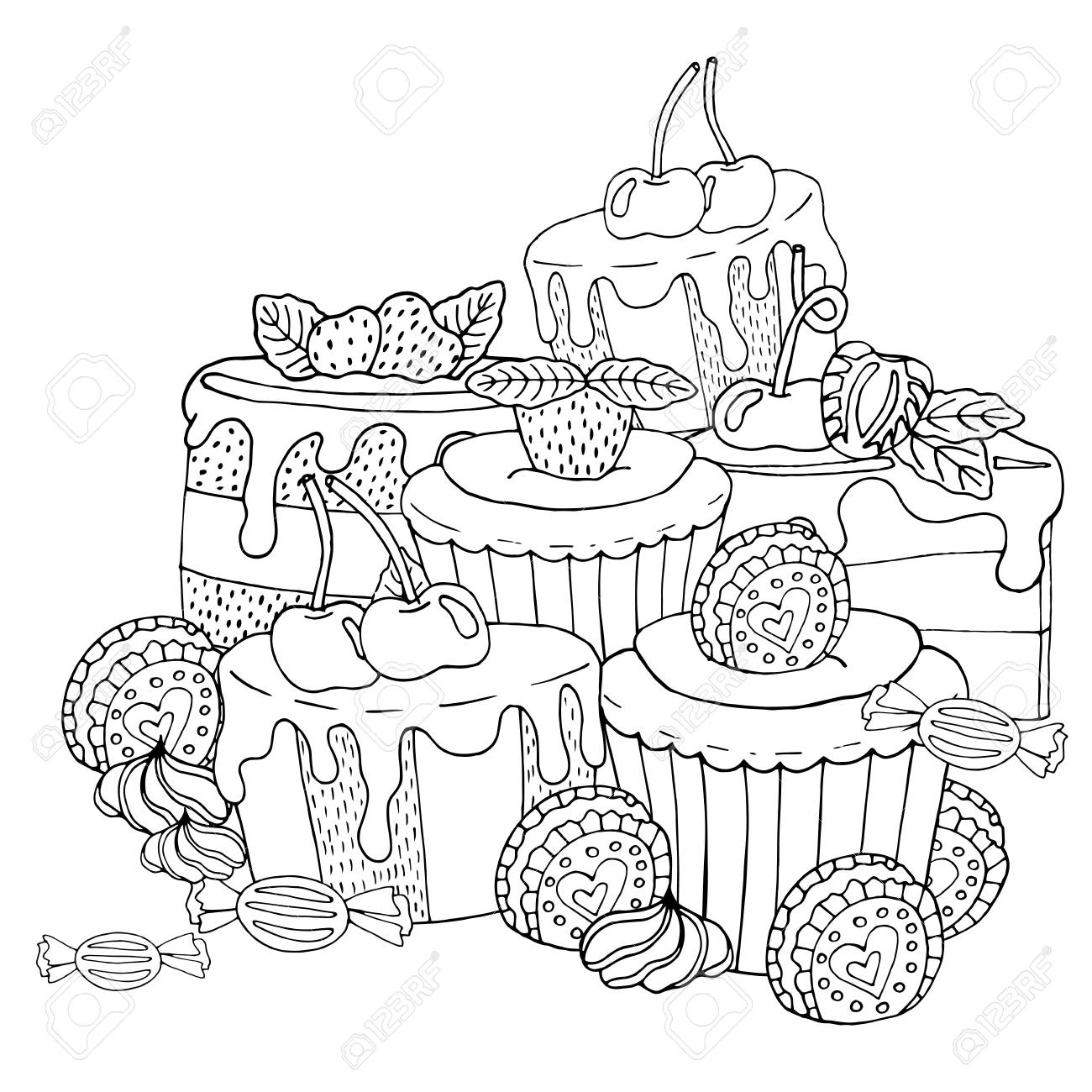 Coloring Page With Cake Cupcake Candy And Other Dessert With Royalty Free Cliparts Vectors And Stock Illustration Image 121952858