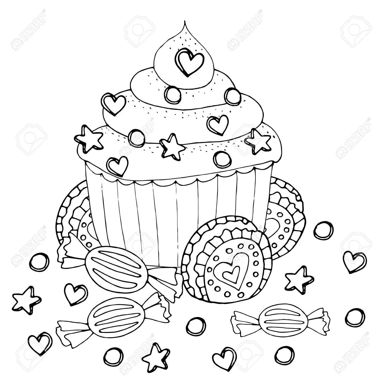 Coloring Page With Cake Cupcake Candy And Other Dessert Sweet Royalty Free Cliparts Vectors And Stock Illustration Image 125210826
