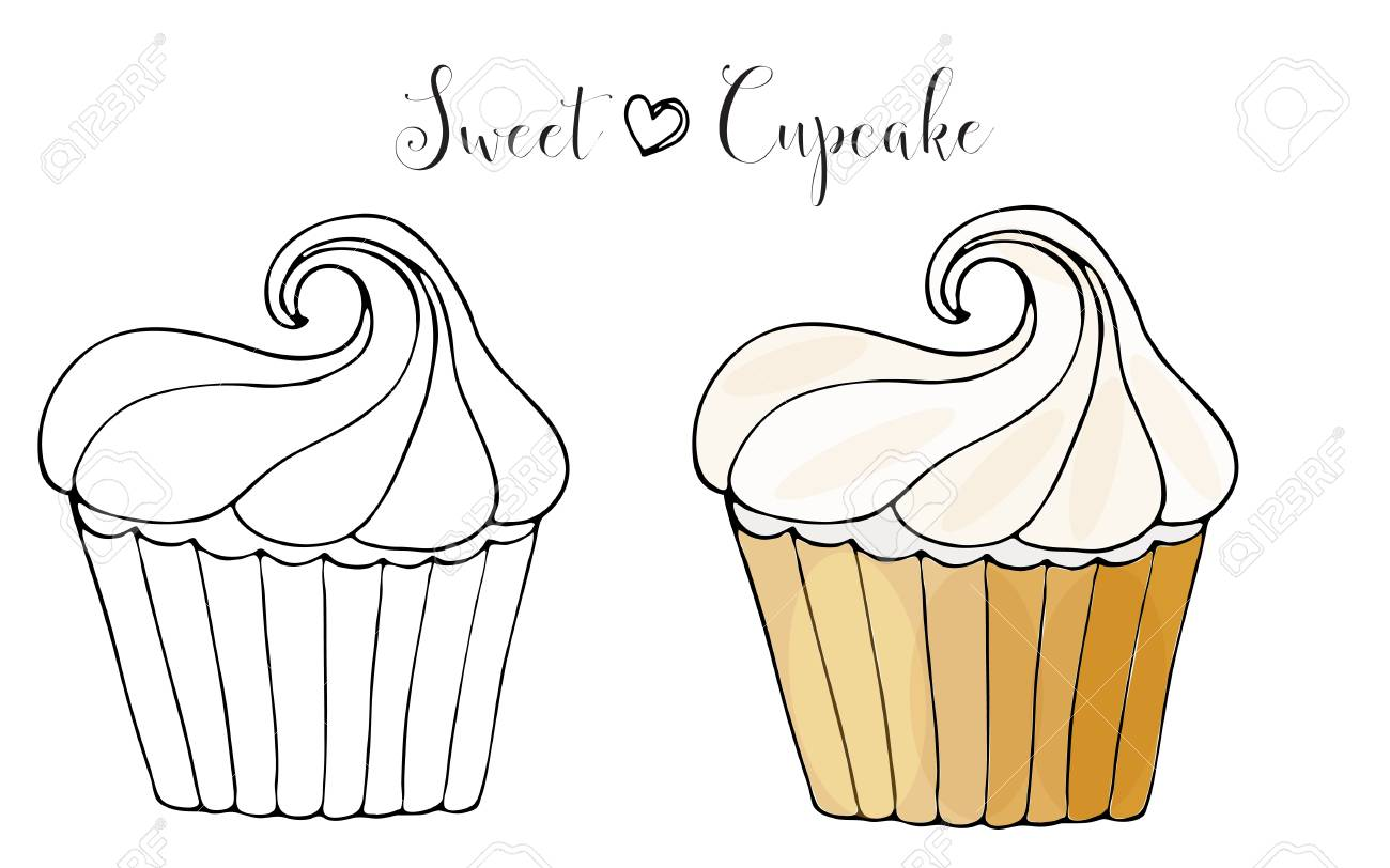 - Vector Isolated Cake Or Cupcake, Dessert Coloring. Sweet Dessert