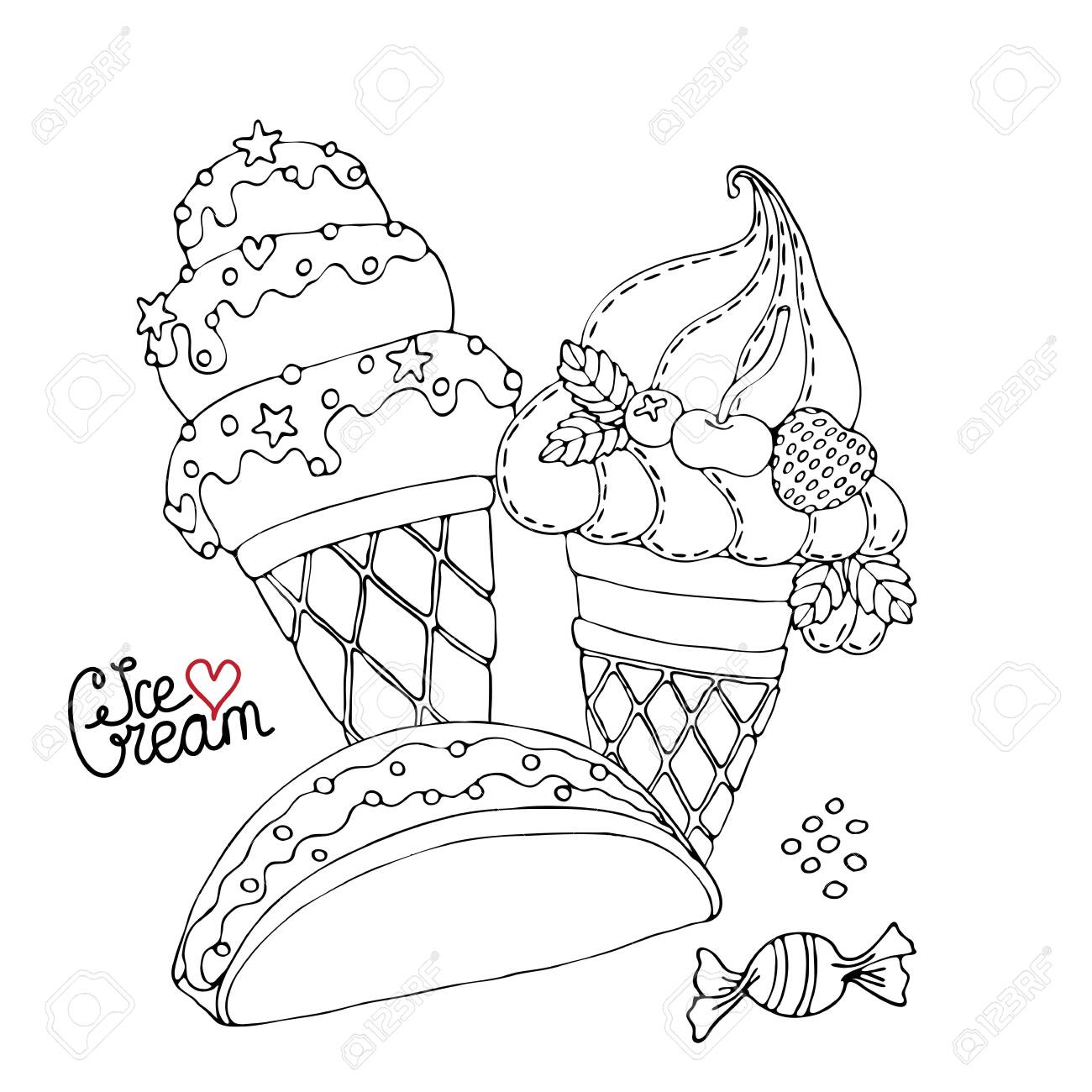 Coloring Page With Cake Cupcake Candy And Other Dessert Sweet