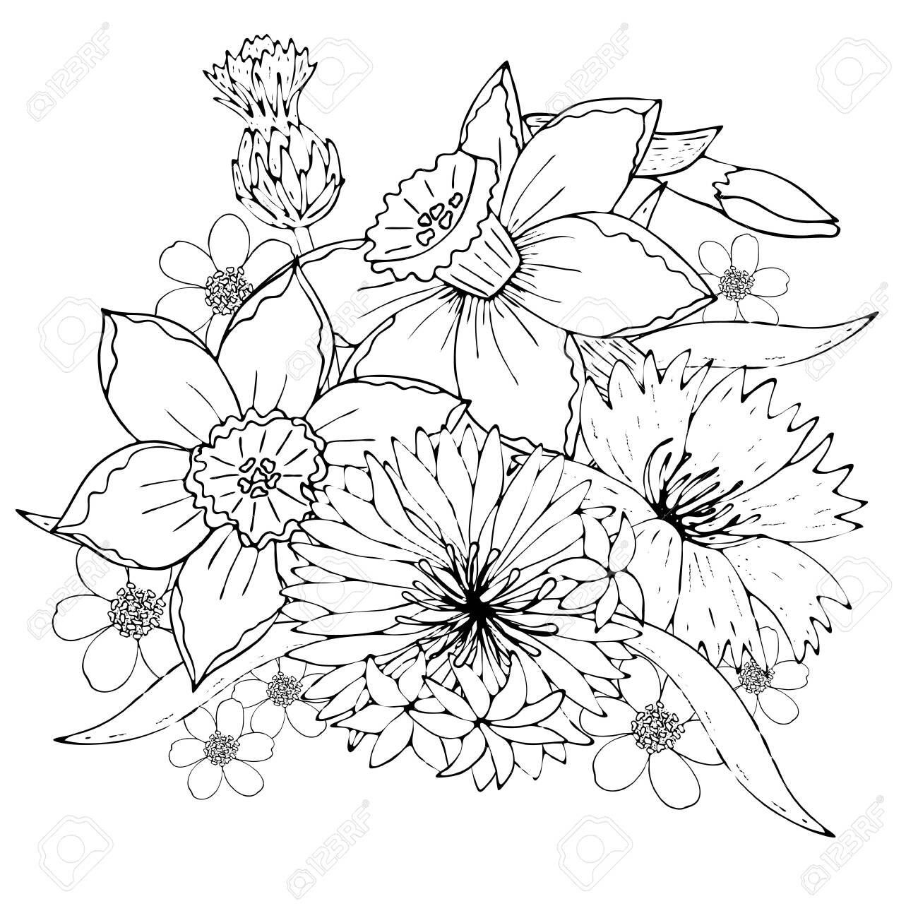 Floral Template With Black Line Field Flowers Botanical Design