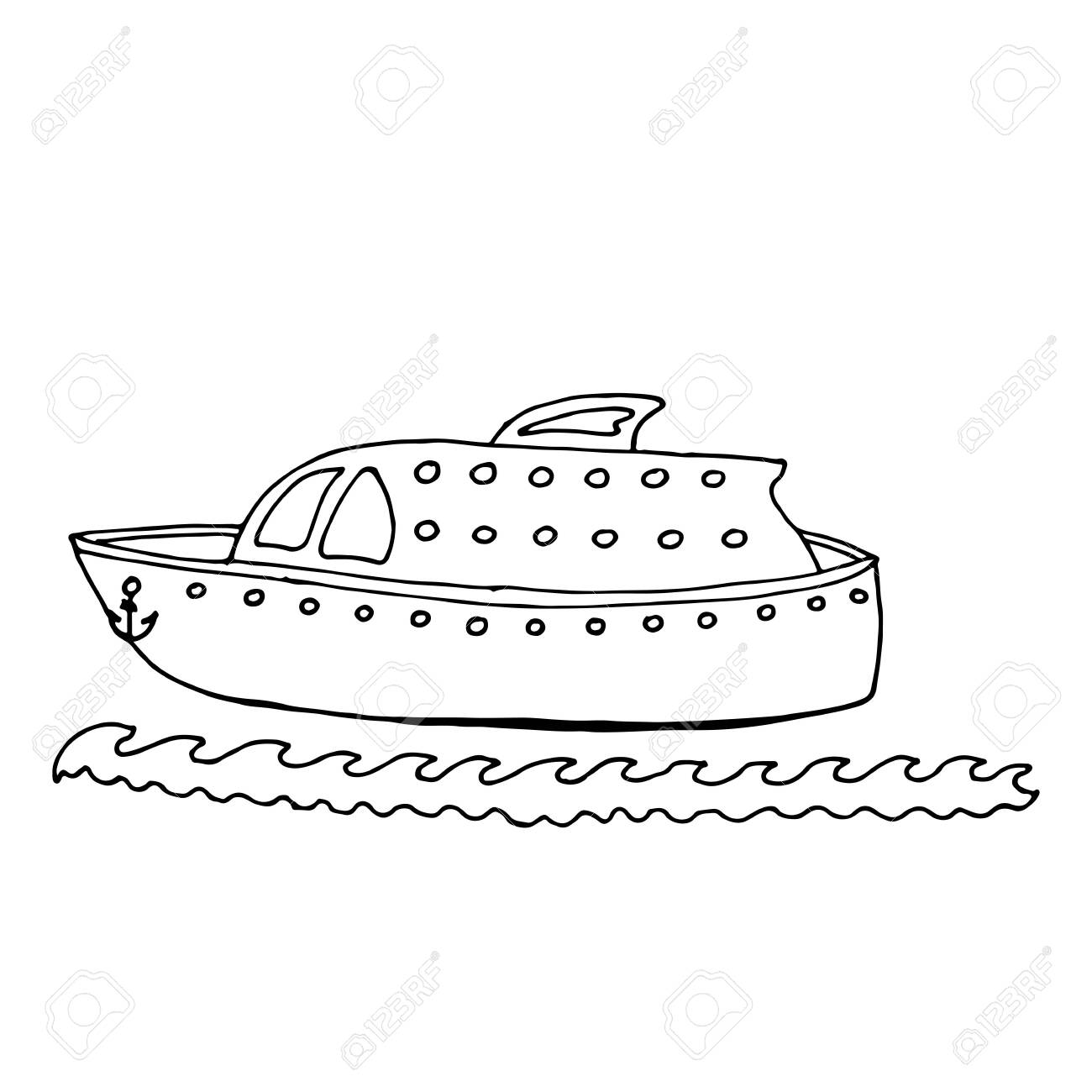Black Line Ship Or Boat For Coloring Book Vector Transport Royalty Free Cliparts Vectors And Stock Illustration Image 128038433