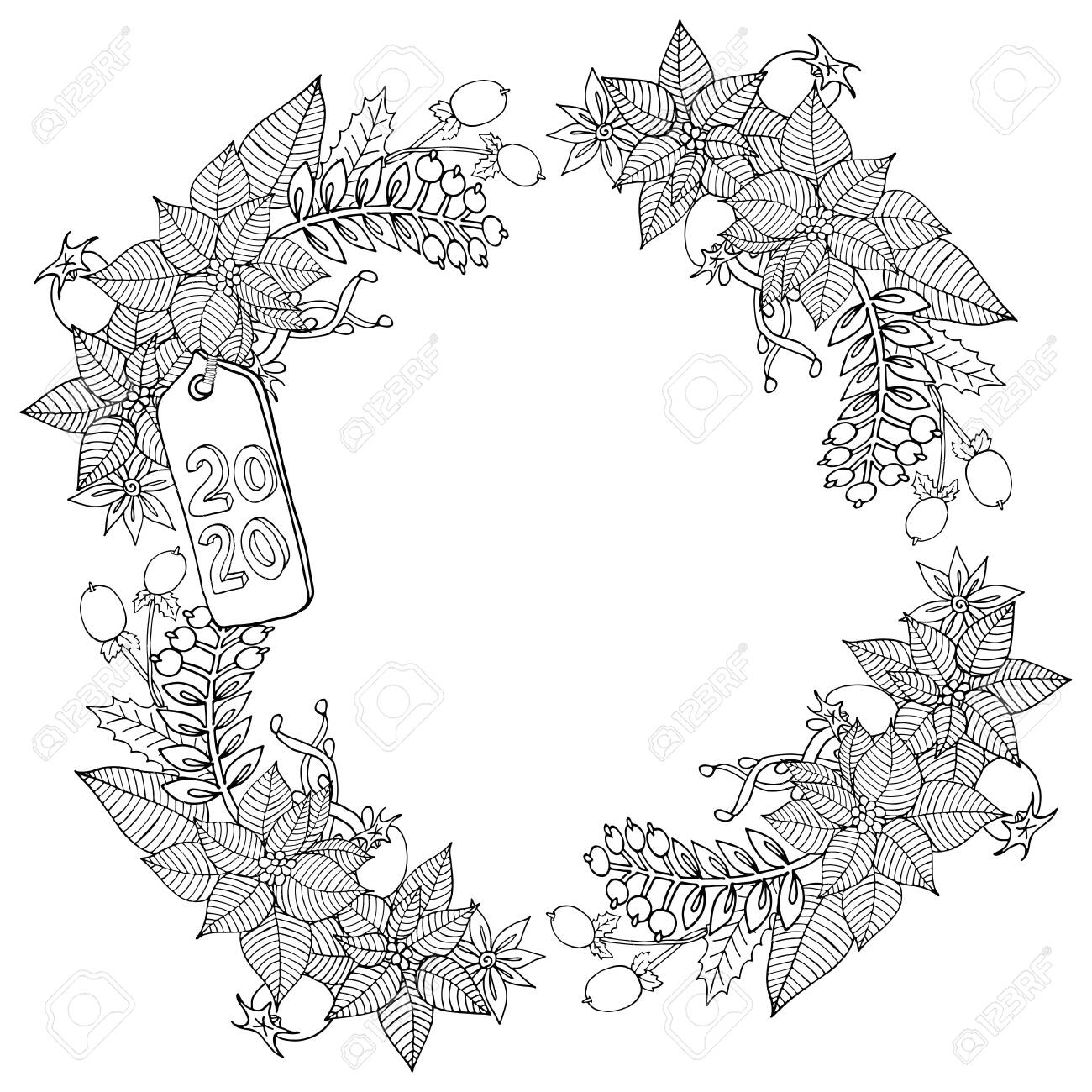 Christmas 2020 frame or wreath coloring book or page. Vector New Year 2020 artwork. Floral, ornate, decorative, tribal, decor, Christmas. Holiday concept. Christmas coloring book page - 132089207
