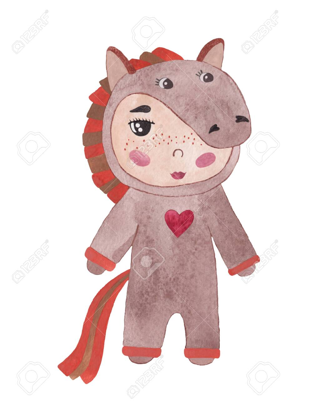 Watercolor Baby In A Horse Costume Cute Horse Child Party Symbol Stock Photo Picture And Royalty Free Image Image 138794723