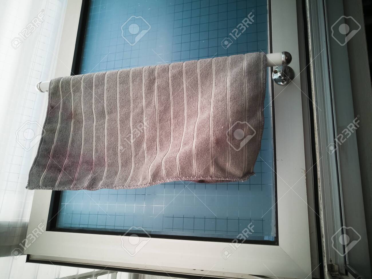 Kitchen Microfiber Cloth Drying At The Window Mounted Aluminium Stock Photo Picture And Royalty Free Image Image 146750229