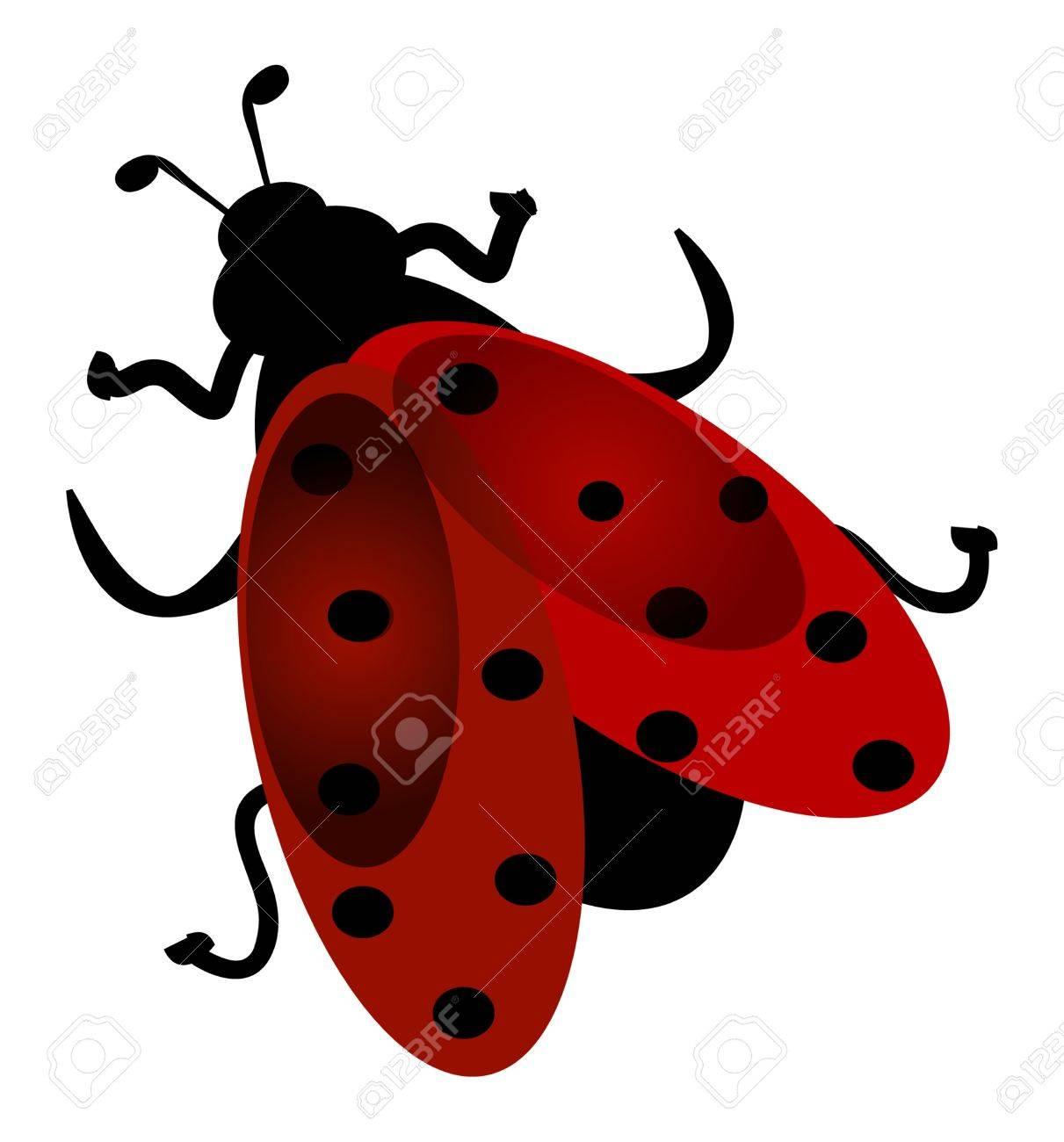 Cute ladybug flying. Cartoon character illustration. Stock Illustration - 4548113