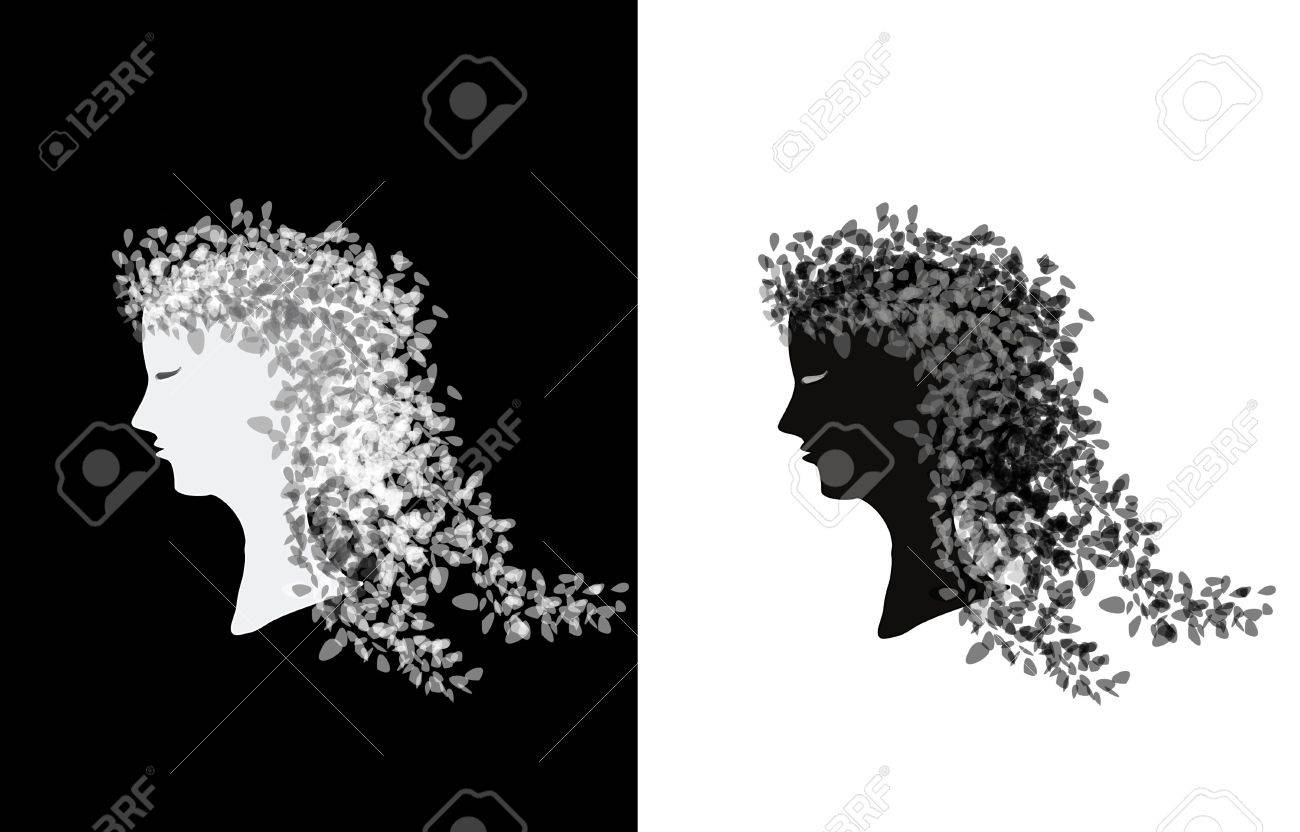 pair of women with curly long hair,face Stock Photo - 4548126