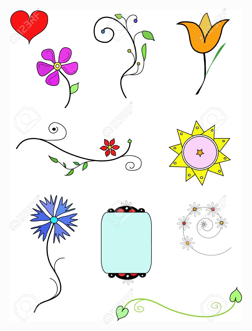 Colors Set Flowers Symbols Hand Drawing Stock Photo Picture And