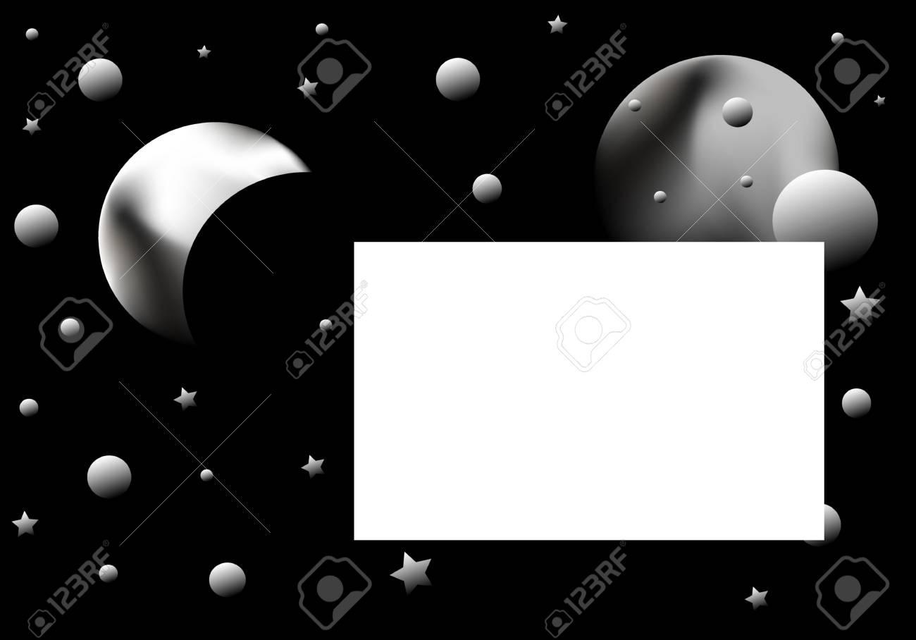 illustration black background, abstract planetarium , frame for text Stock Illustration - 5492305