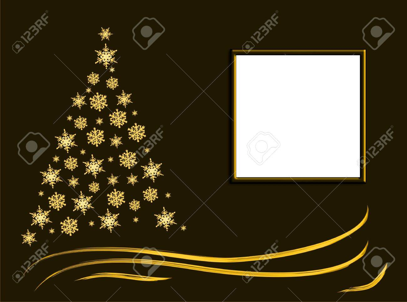 Winter abstract christmas gold tree spruce, background, frame for text Stock Photo - 6089860