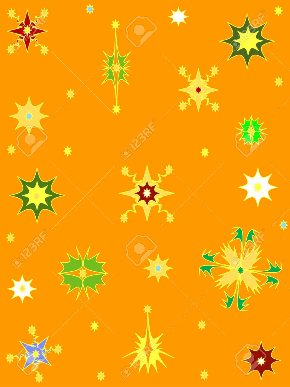 Orange background snowflakes Stock Vector - 6089887