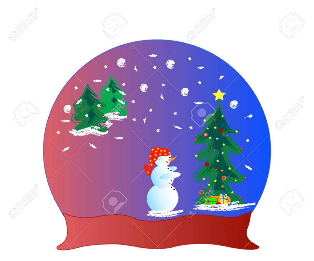 An Illustration Of A Glass Dome Snow Globe And Snowman Frame
