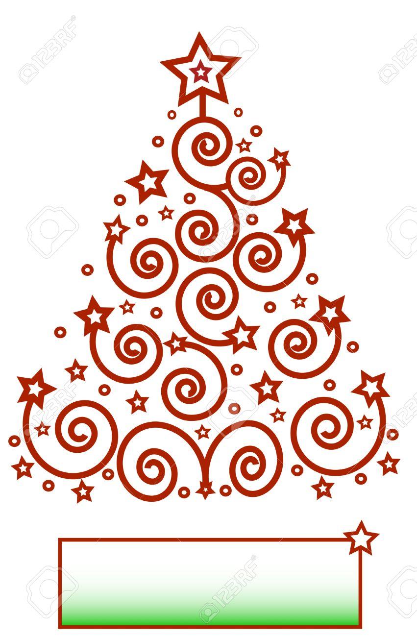 Marcos Para Fotos De Arbol De Navidad.Tema Rojo Arbol De Navidad De Los Espirales Y Las Estrellas Marco Para Texto Aislado Vector