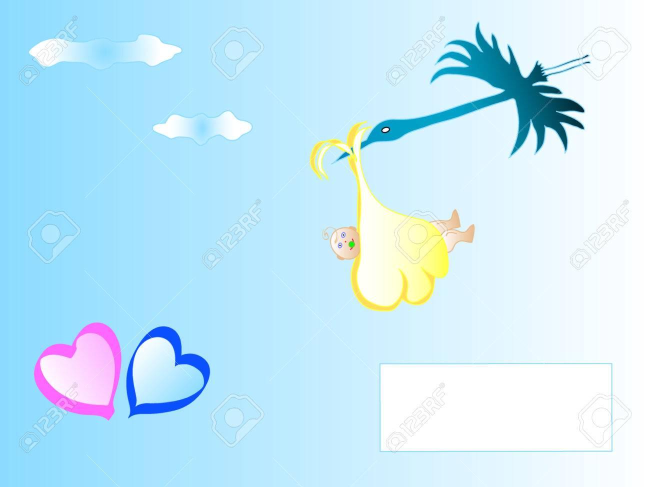 Cigüeña De Dibujos Animados Lindo Llevando A Un Bebé Recién Nacido ...