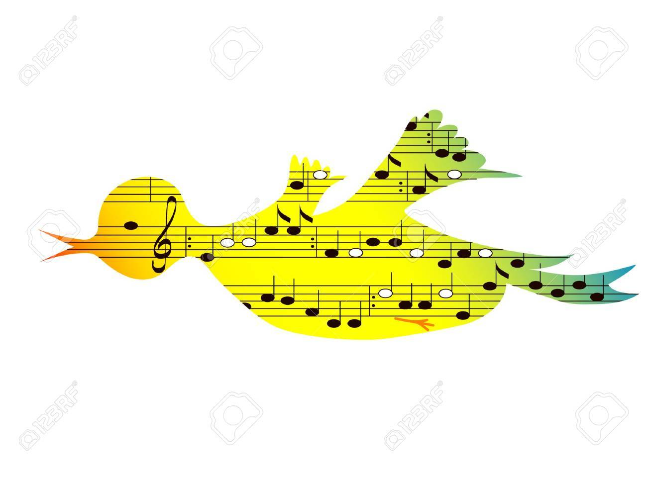 Flying colored songbird, music theme,vector format Stock Vector - 11977071