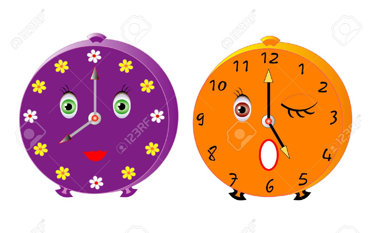 Vector illustration of two isolated cute alarms - 45968363
