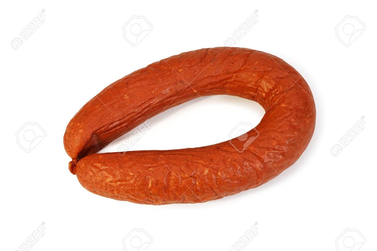 Smoked sausage Krakovskaya isolated on white background Stock Photo - 16380181