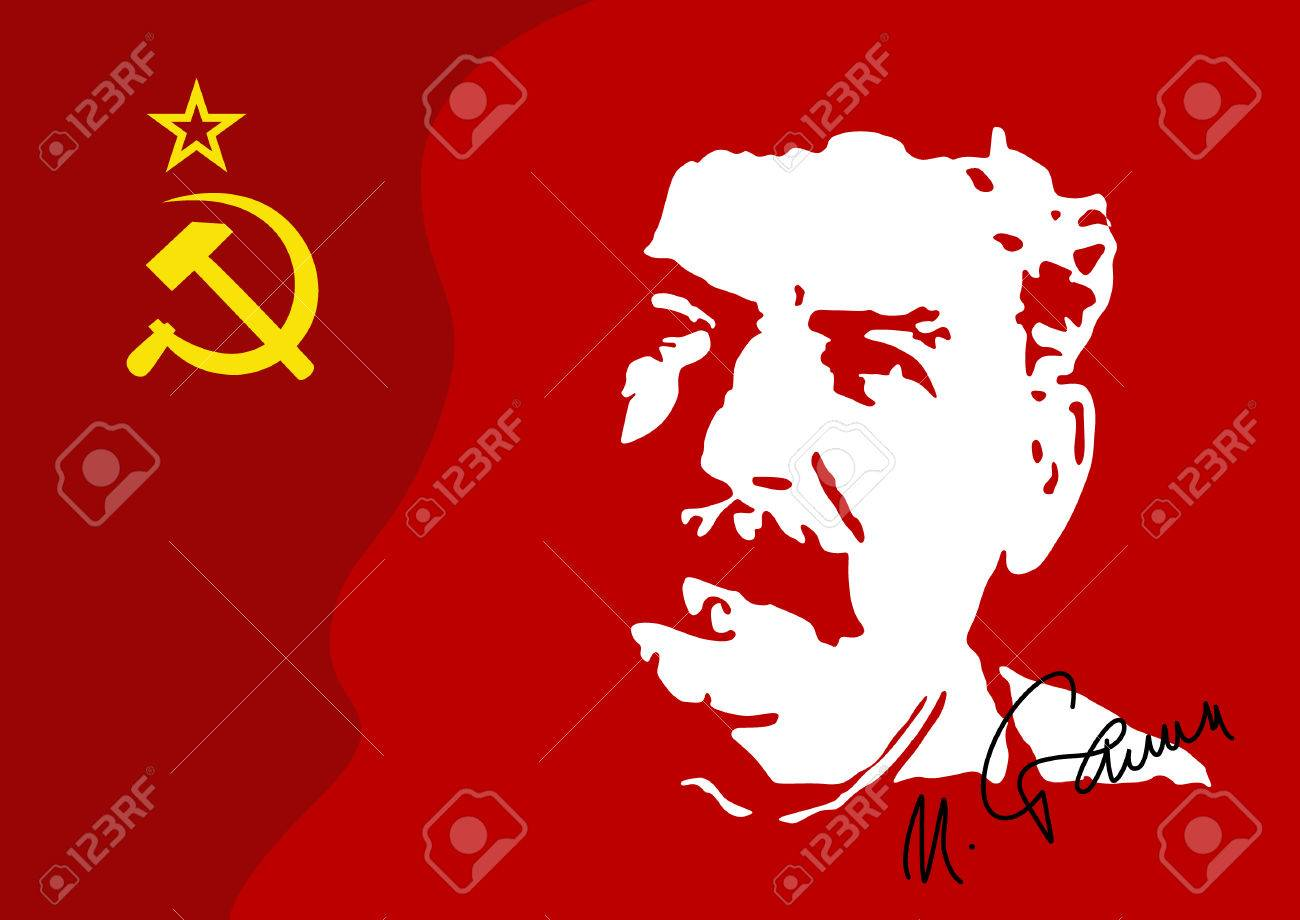 Vector illustration of a portrait of IV. Stalin is a military leader of the communist government of the USSR to 1953. The portrait is drawn from archive video. - 78085604