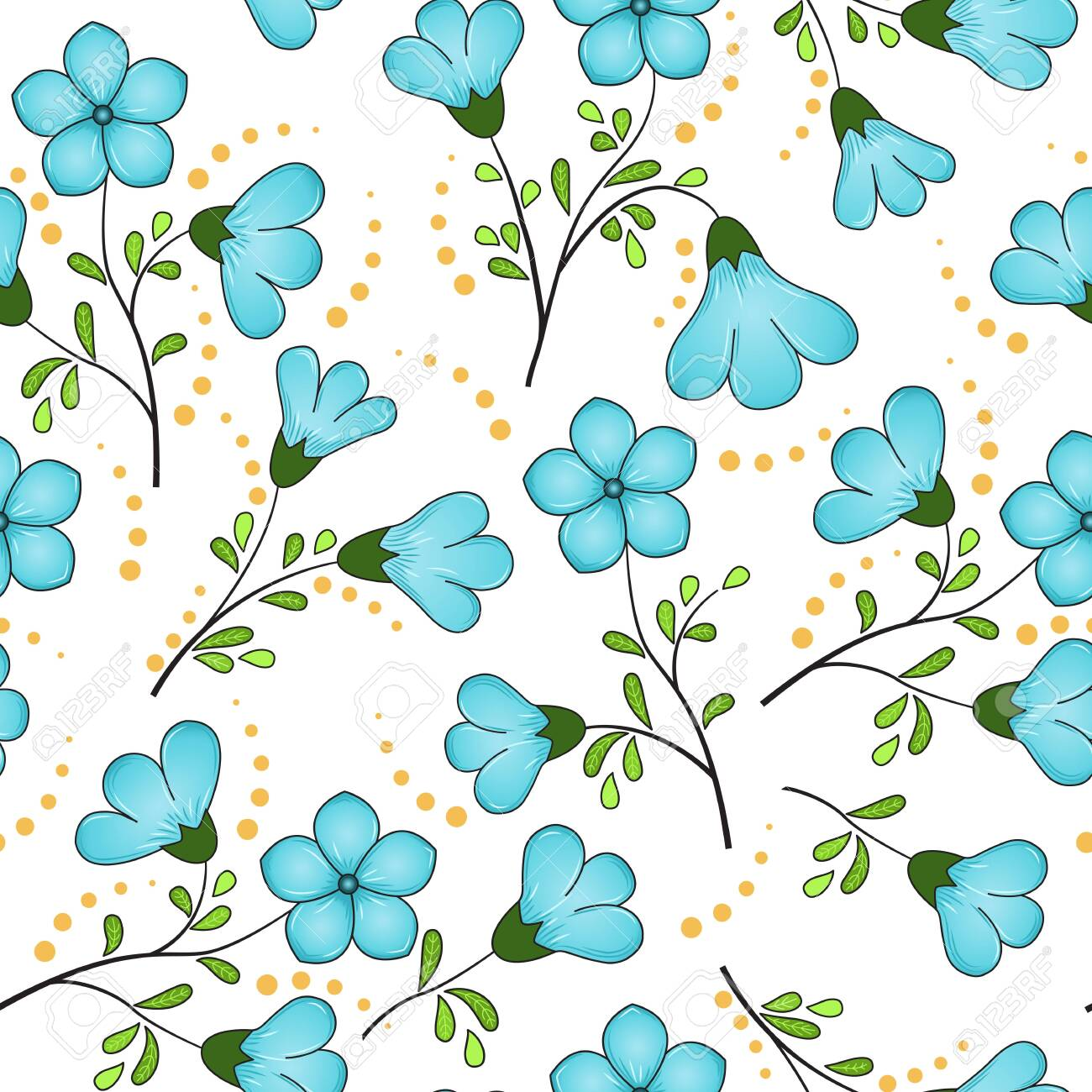 Seamless floral pattern of turquoise blue flax flowers, black twigs with yellow-green leaves, yellow dots, white background. The print is well suited for fabric decor, printed matter, or advertising. - 138759752