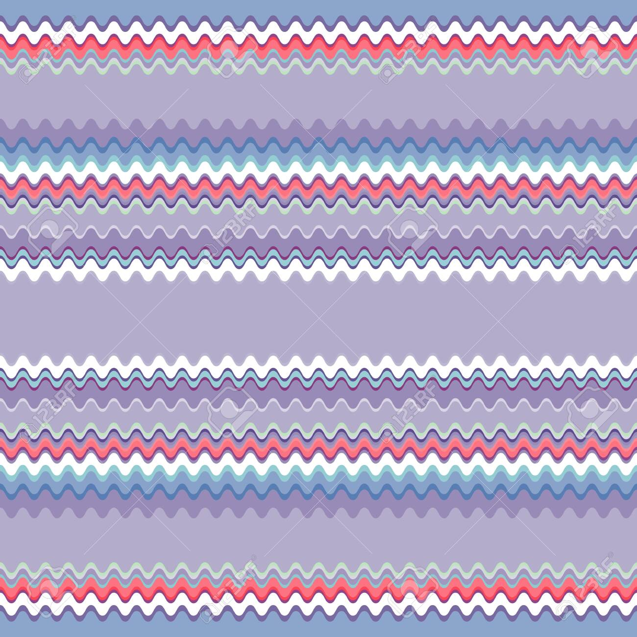 Seamless pattern of horizontal wavy stripes. The pattern is dominated by blue and purple shades. Great for decorating fabrics, textiles, gift wrapping, printed matter, interiors, advertising. - 150141917