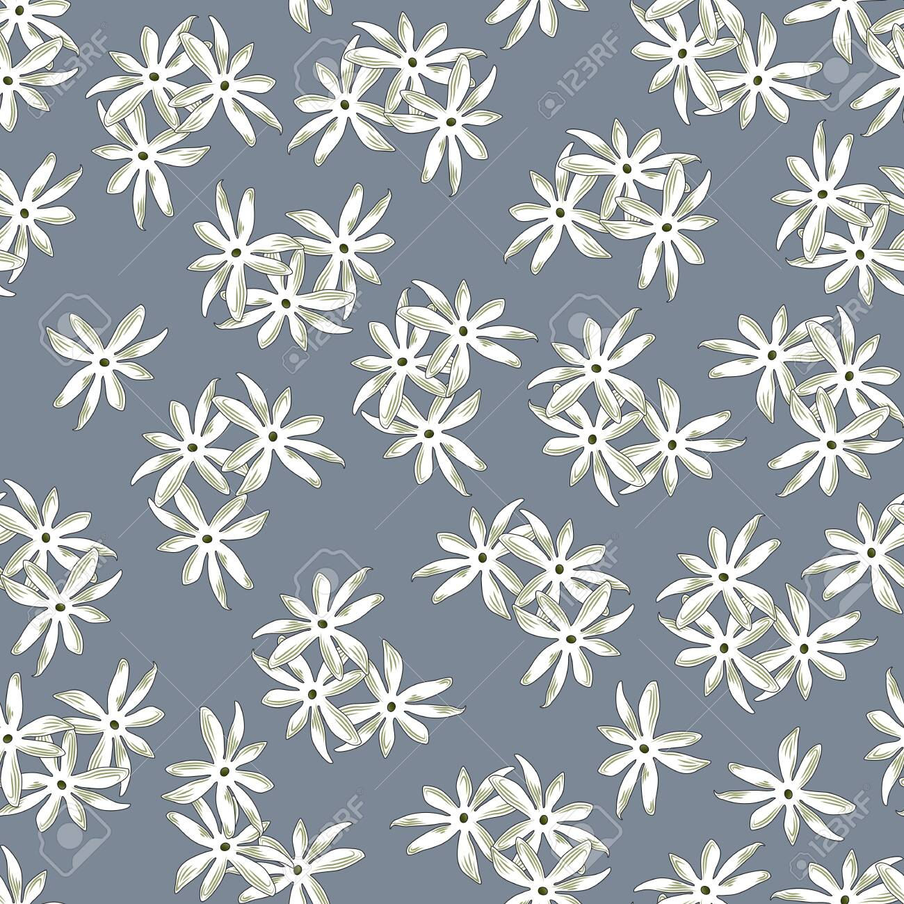 Seamless floral print, randomly arranged groups of white with olive flowers, gray background. Great for decorating fabrics, textiles, gift wrapping, printed matter, interiors, advertising. - 150402460