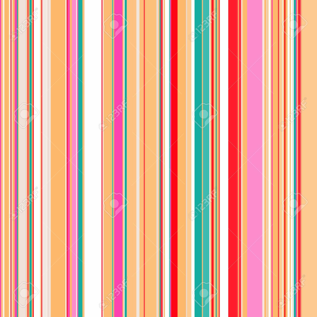 Seamless geometric print, vertical multicolor stripes of different sizes, bright contrasting colors. Great for decorating fabrics, textiles, gift wrapping, printed matter, interiors, advertising. - 150402461