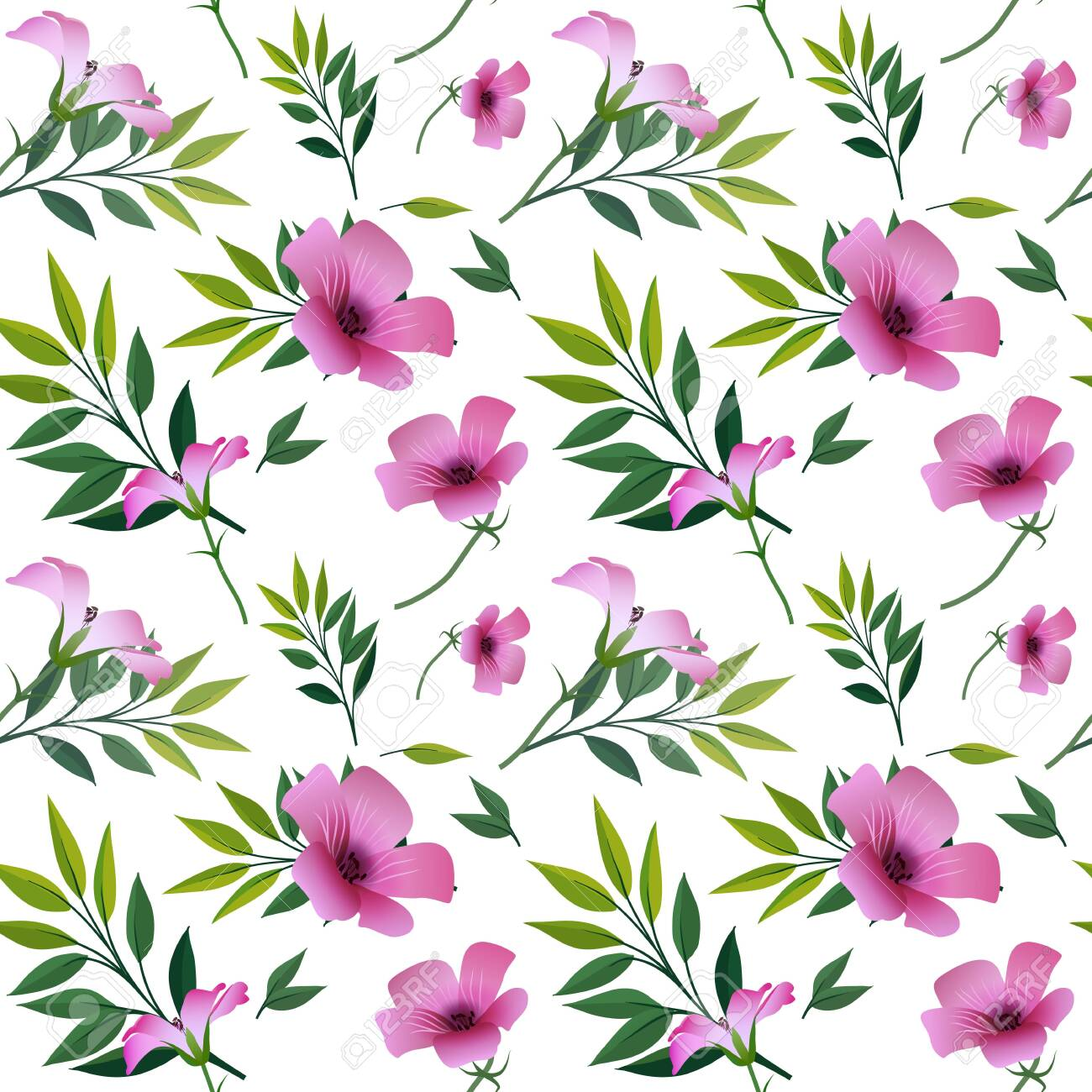 Seamless floral print, bright purple with pink flowers and green twigs with leaves, white background. Great for decorating fabrics, textiles, gift wrapping, printed matter, interiors, advertising. - 150402472