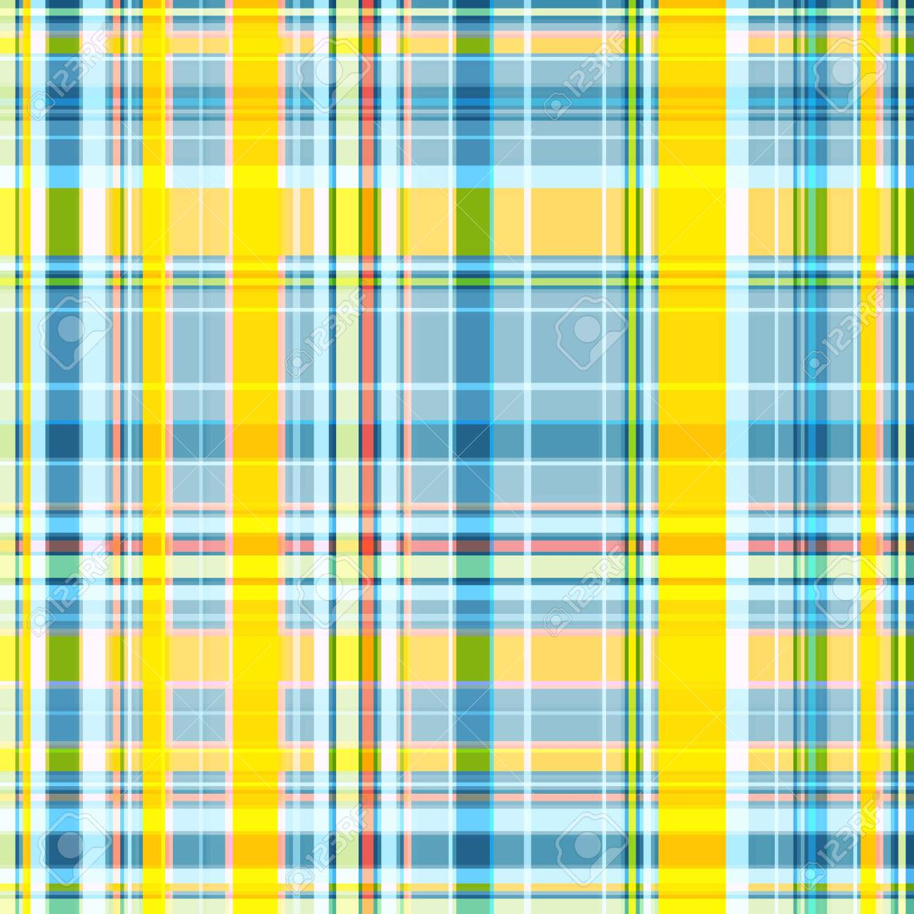 Seamless checkered pattern, the intersection of wide and thin stripes in yellow-blue colors. Great for decorating fabrics, textiles, gift wrapping, printed matter, interiors, advertising. - 151614111