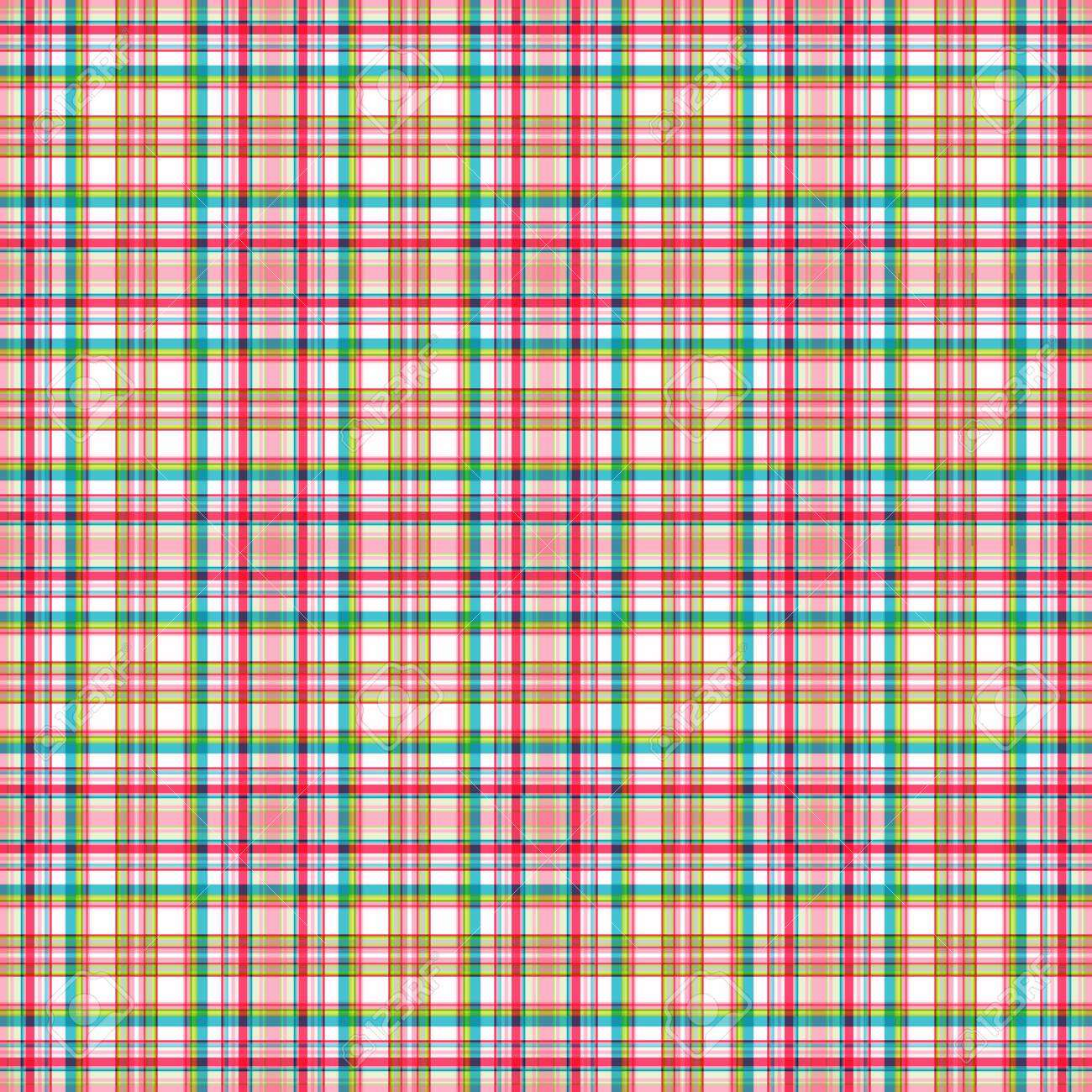 Checkered seamless pattern, subtle bright pink, turquoise and yellow-green stripes, white background. Great for decorating fabrics, textiles, gift wrapping, printed matter, interiors, advertising. - 154408259