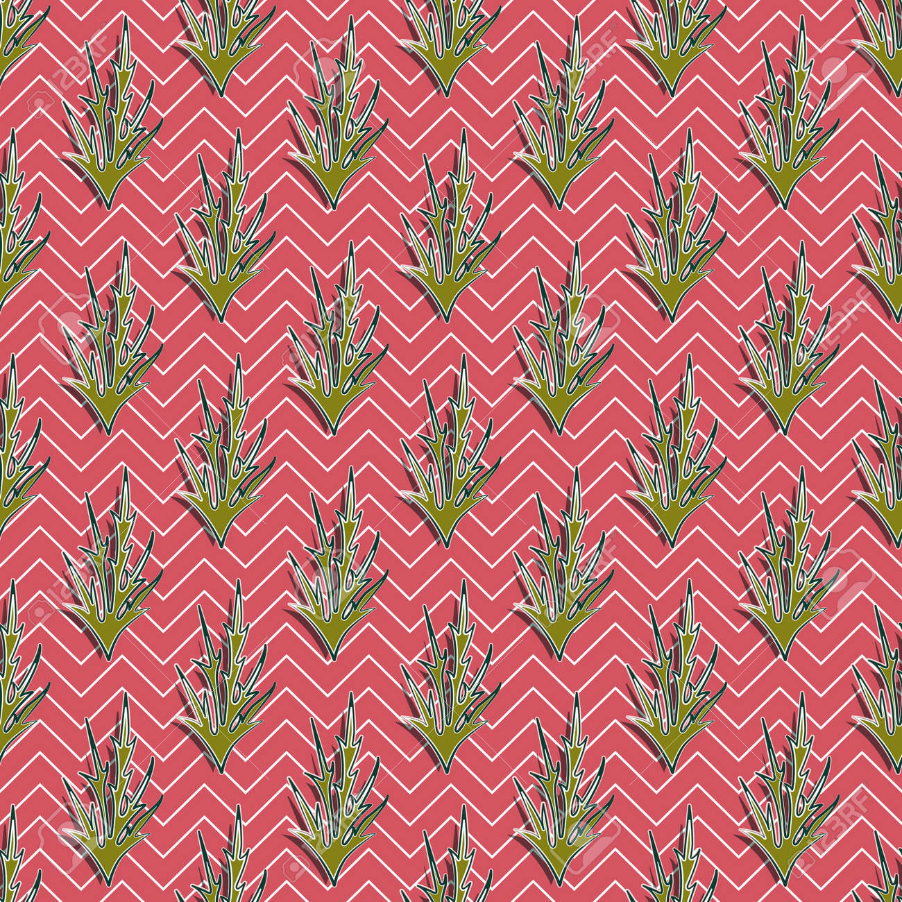 Olive thorns seamless pattern with dark and light strokes, terracotta background with white zigzags. Great for decorating fabrics, textiles, gift wrapping, printed matter, interiors, advertising. - 159819721