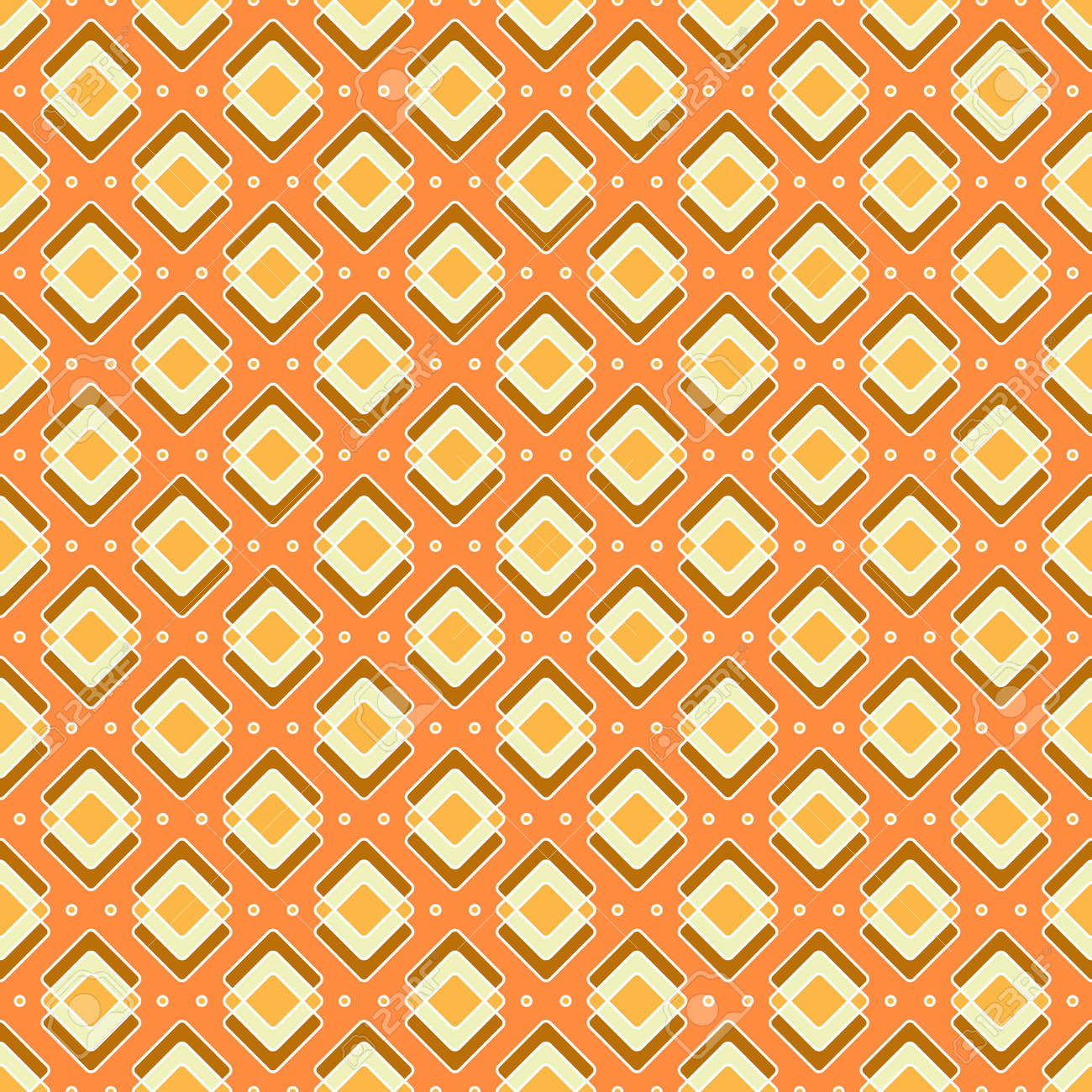 Rhombuses seamless pattern in yellow-orange colors. Bright geometric print with orange background. Great for decorating fabrics, textiles, gift wrapping, printed matter, interiors, advertising. - 162511360