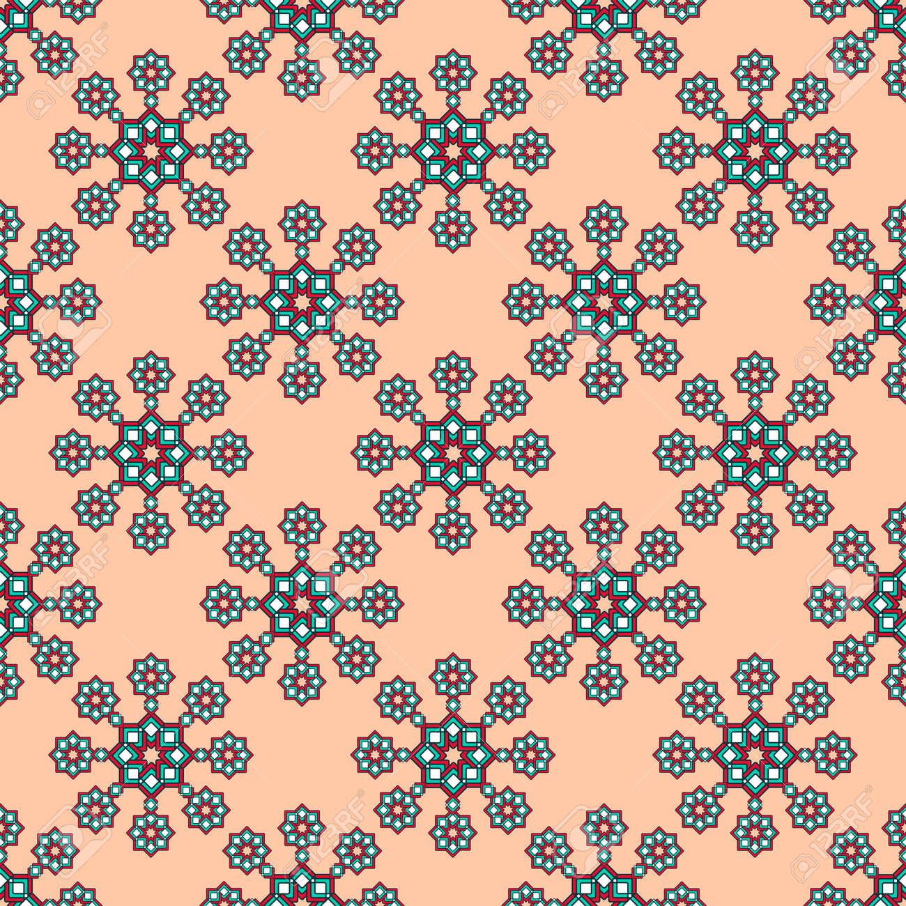 Seamless geometric print, bright curly stars in turquoise and red with white tones, apricot background. Great for decorating fabrics, textiles, gift wrapping, printed matter, interiors, advertising. - 163058453