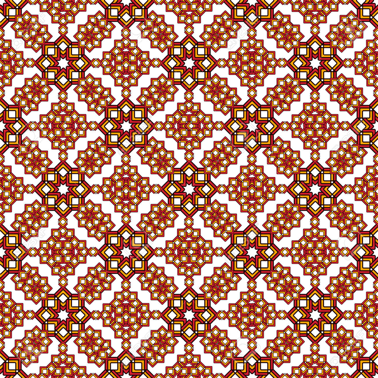 Bright oriental arabesque made of curly stars in reds and browns. Seamless pattern on a white background. Great for decorating fabrics, textiles, gift wrapping, printed matter, interiors, advertising. - 163058451