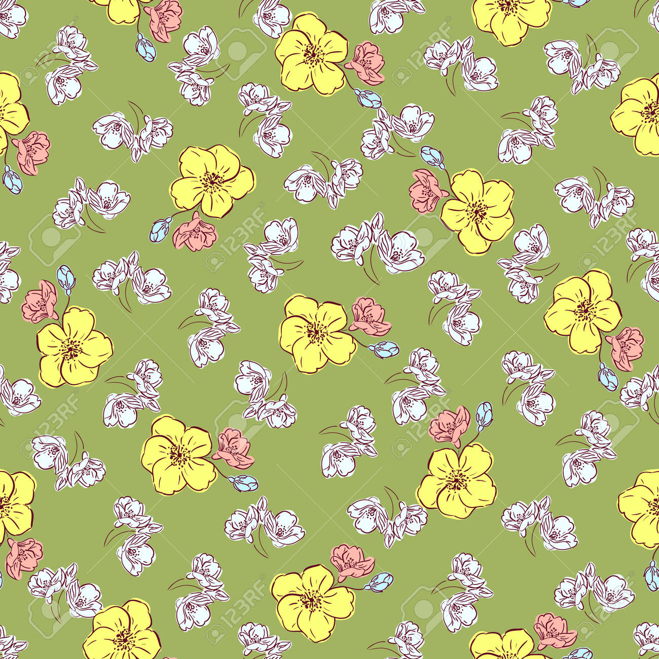 Floral spring seamless pattern, hand drawn yellow, pink and pale blue flowers, olive green background. Great for decorating fabrics, textiles, gift wrapping, printed matter, interiors, advertising. - 165787326