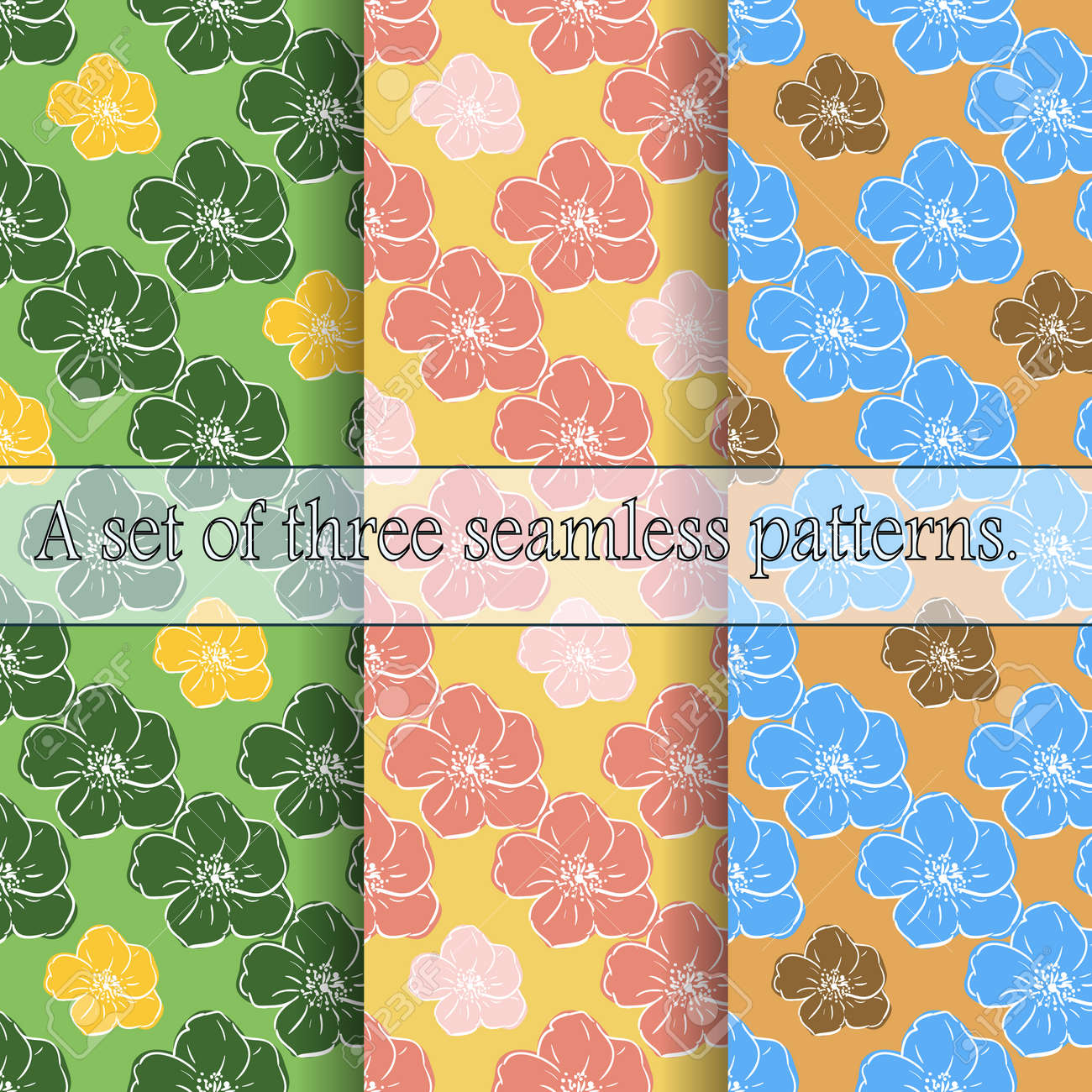 Set of three seamless floral patterns. Large bright hand-drawn flowers, light contour, careless lines. Great for decorating fabrics, textiles, gift wrapping, printed matter, interiors, advertising. - 166057317