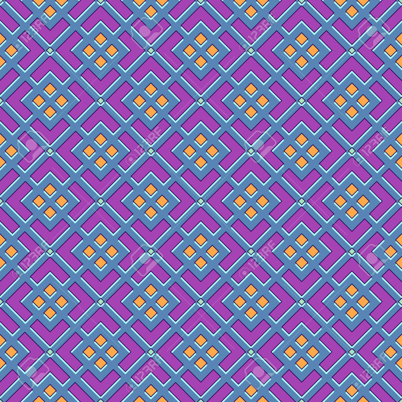 Bright seamless geometric print, abstract curly blue mesh with orange rhombuses, fuchsia background. Great for decorating fabrics, textiles, gift wrapping, printed matter, interiors, advertising. - 167343307