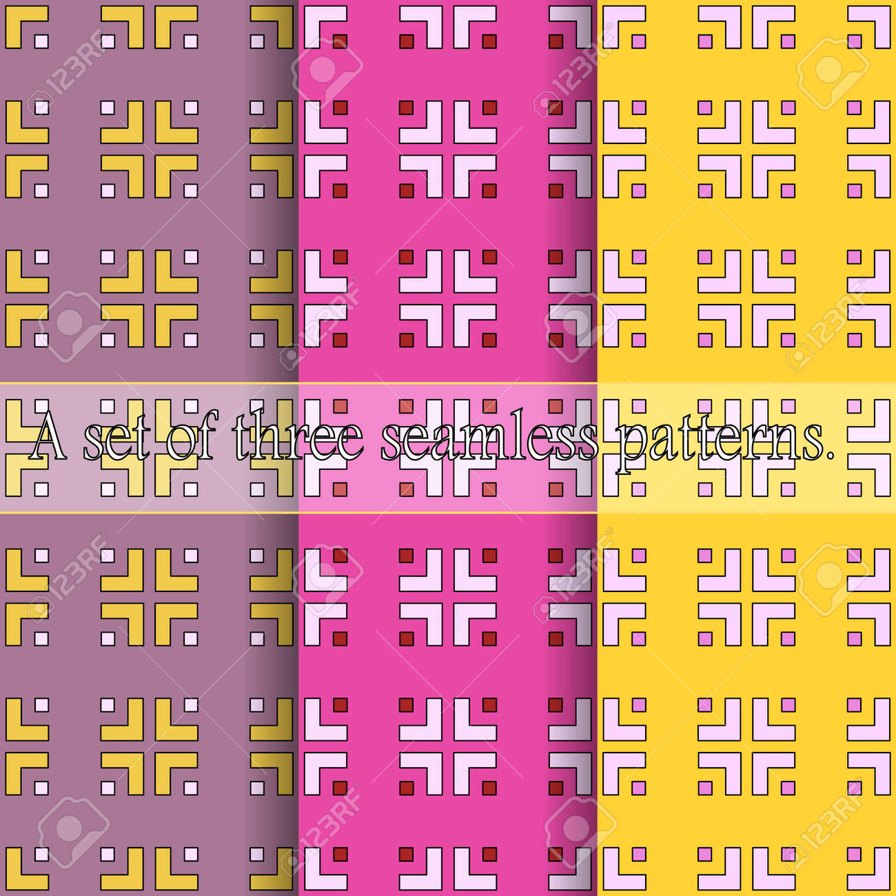 A set of three simple seamless geometric patterns. Bright prints from curly elements of a square shape. Great for decorating fabrics, textiles, gift wrapping, printed matter, interiors, advertising. - 167644306