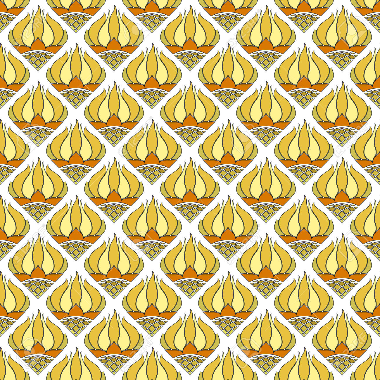 Beautiful seamless floral pattern, stylized yellow with orange sunflowers on a white background. Great for decorating fabrics, textiles, gift wrapping, printed matter, interiors, advertising. - 172047269