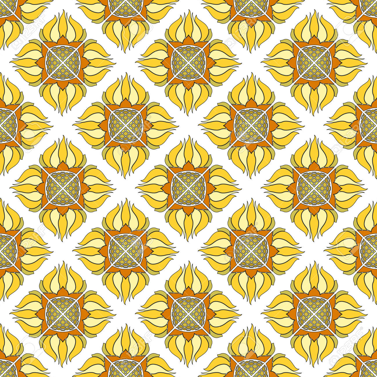 Seamless floral pattern of abstract sunflowers. Yellow with orange flowers on a white background. Great for decorating fabrics, textiles, gift wrapping, printed matter, interiors, advertising. - 172047270