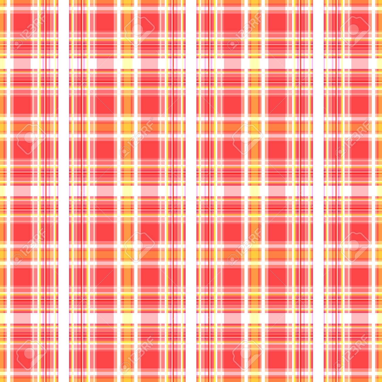 Checkered seamless background. Abstract geometric pattern of stripes of pink, yellow and white. Great for decorating fabrics, textiles, gift wrapping, printed matter, interiors, advertising. - 173090041