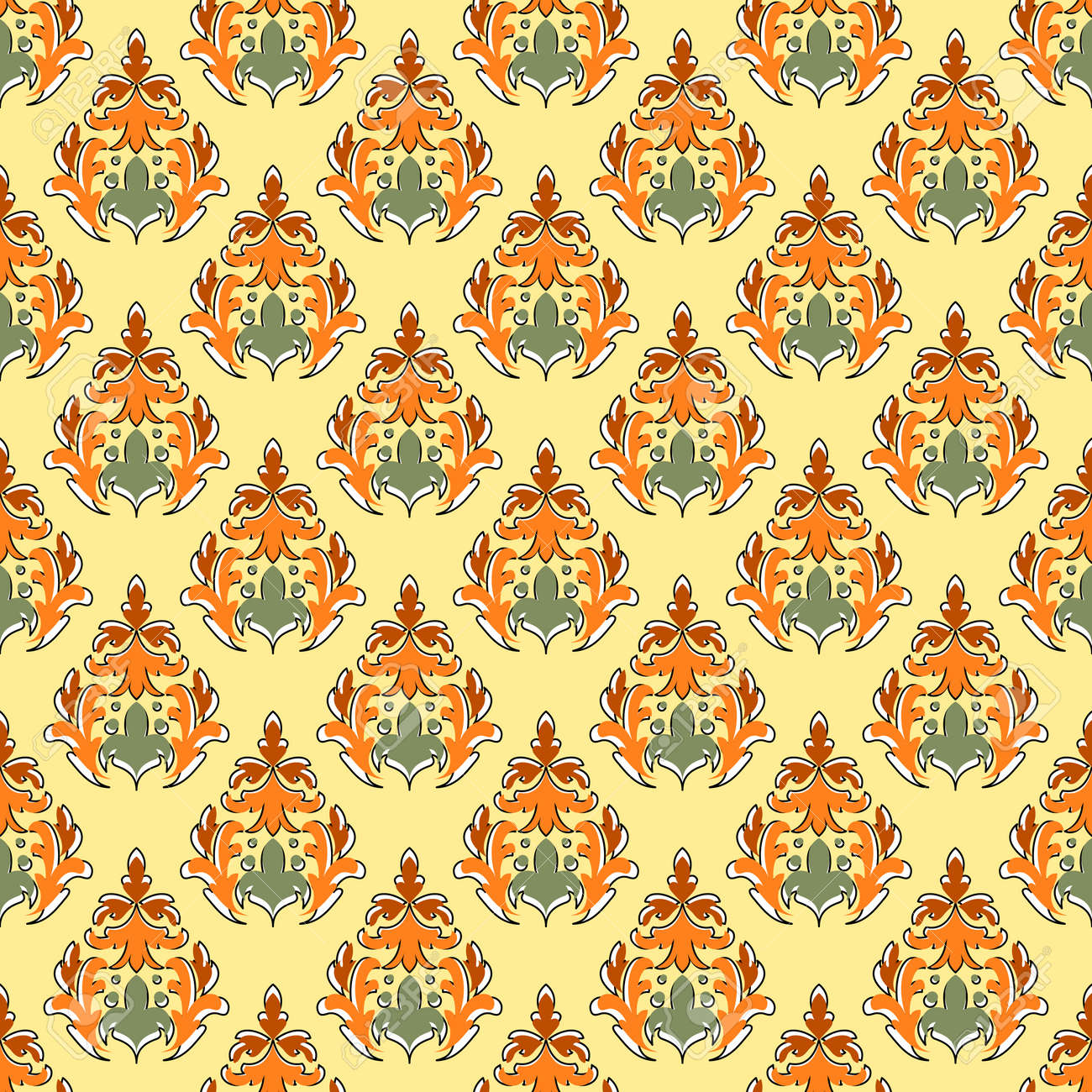 Abstract seamless wallpaper in the style of damask. Curly elements in yellow, orange and green colors. Great for decorating fabrics, textiles, gift wrapping, printed matter, interiors, advertising. - 173297021
