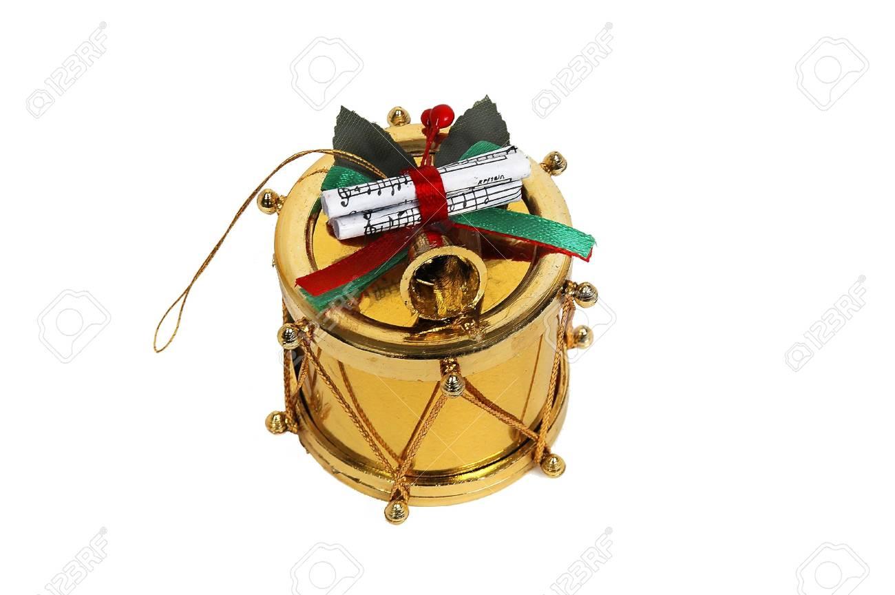 Christmas Drum.Gold Christmas Drum Close Up