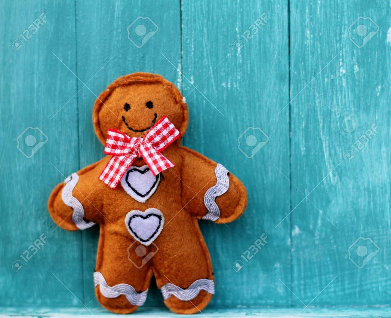 Shabby Chic Felt Ginger Bread Man On Blue Painted Wooden Boards