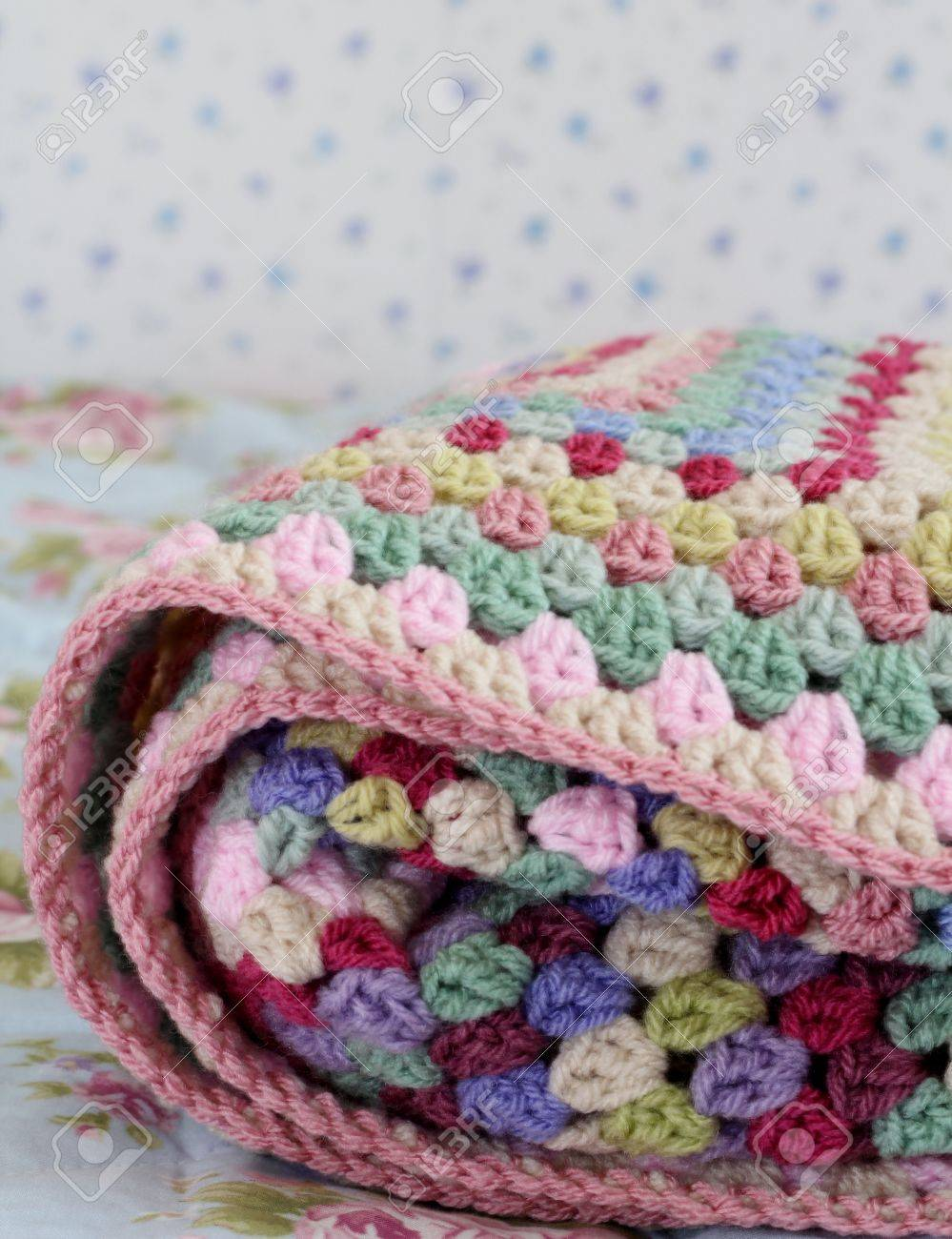 Pretty Handmade Crochet Afghan Blanket Folded On Bed Made In