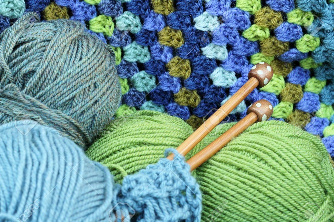 Garn Handwerk Wolle In Blau Und Grün Häkeln Afghanischen Decke