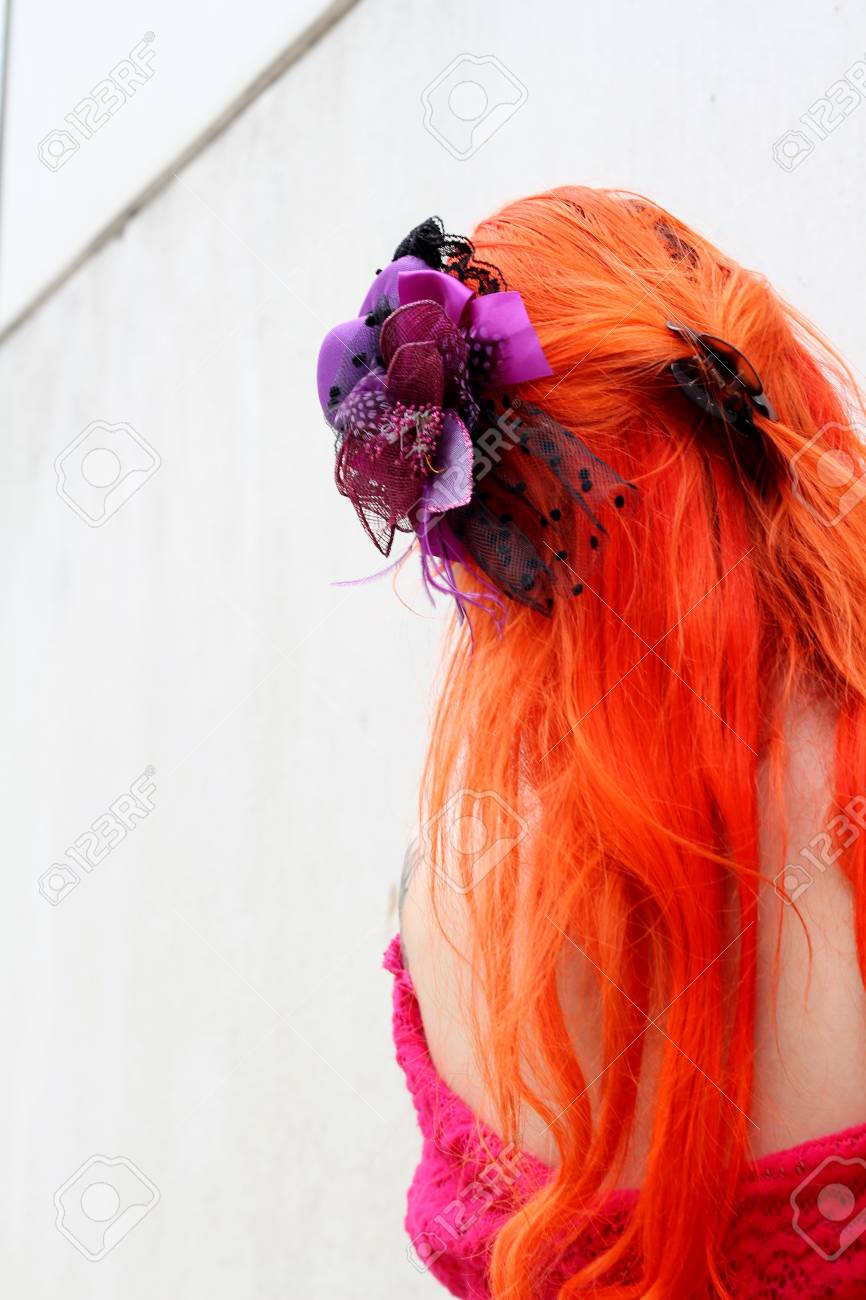 Long Dyed Orange Hair Alternative Model Back View Purple Hair