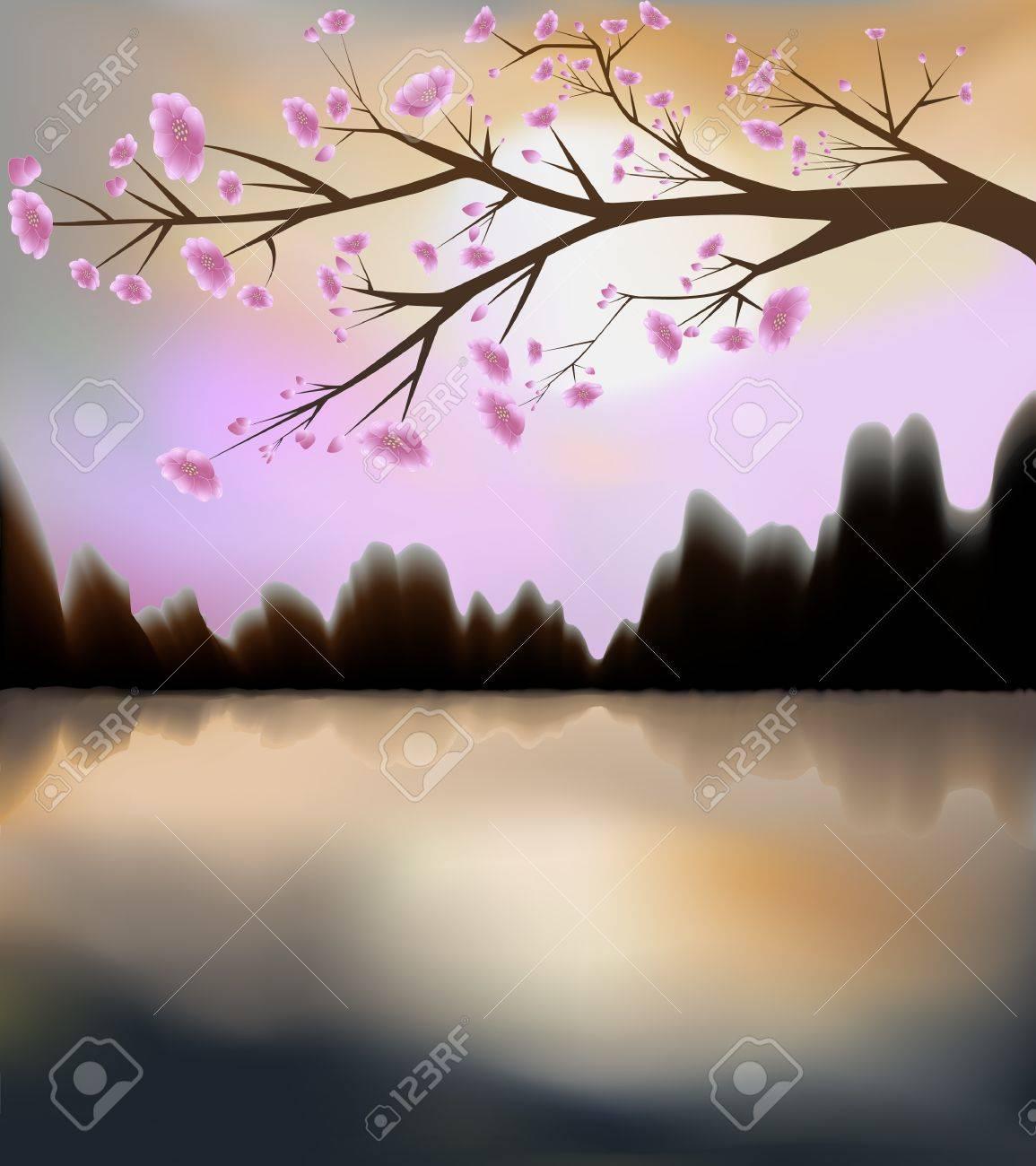 Illustration of sunset and sakura in bloom Stock Vector - 9622305